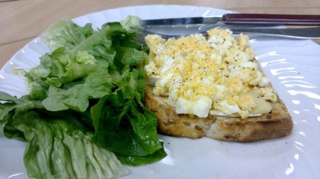 Eggs, toast, lettuce, brie